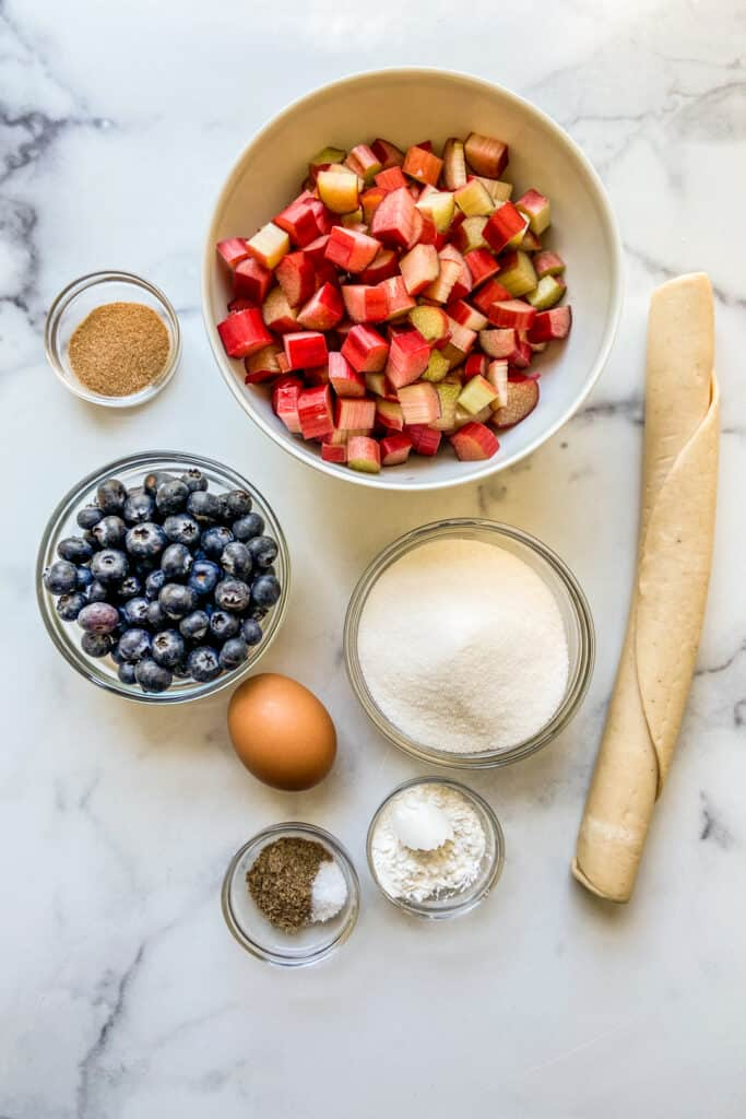 Ingredients for a rhubarb galette.