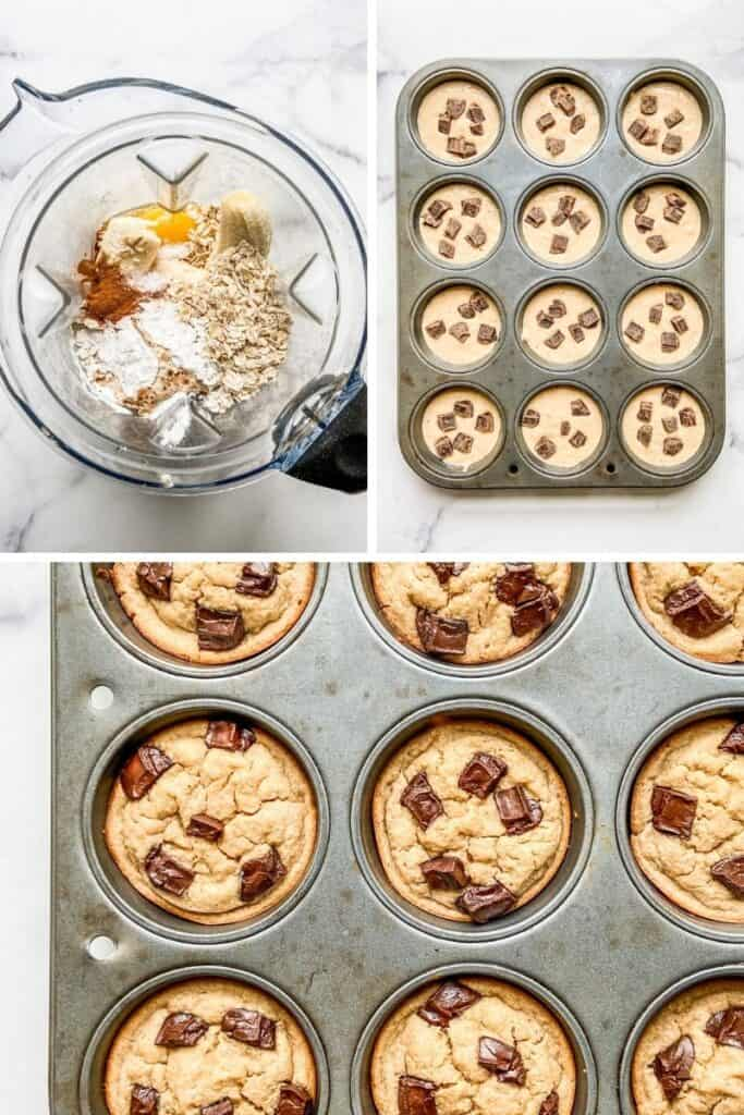 A compilation of photos of how to make blender banana oat muffins.