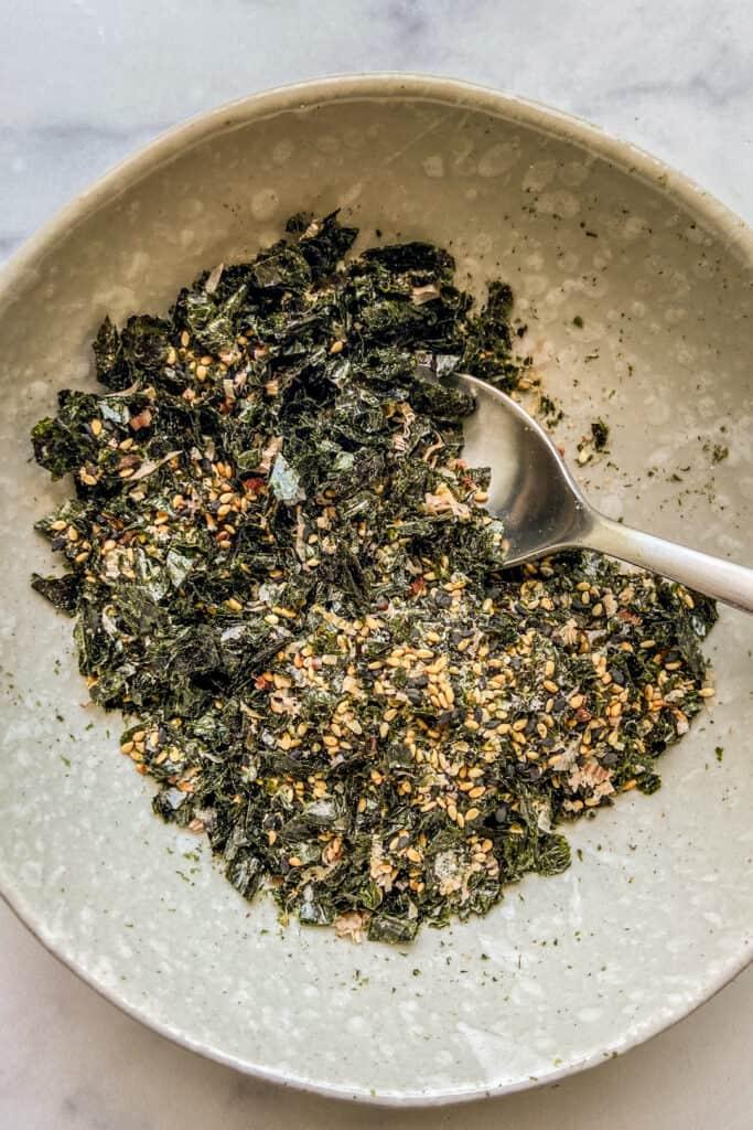A closeup shot of a bowl of furikake.