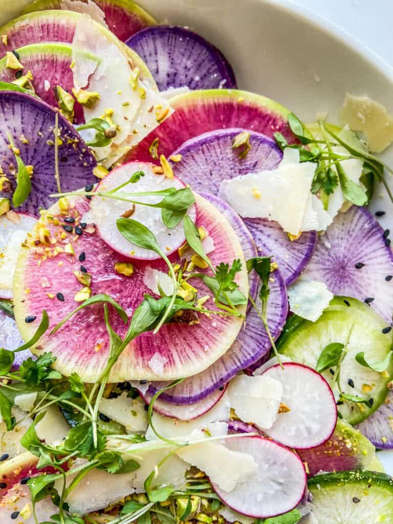 A closeup shot of a radish salad.