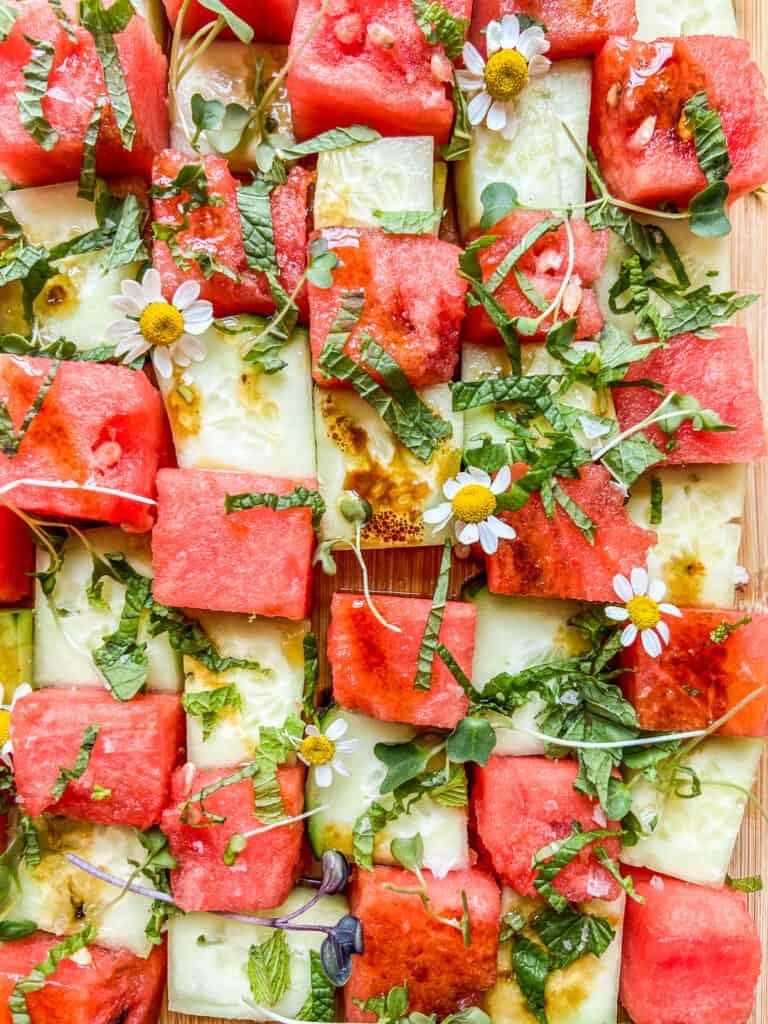 A closeup shot of a cucumber watermelon mosaic salad.