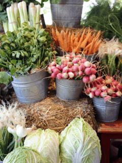 Produce at a farmer's market.