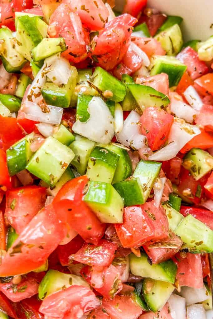 A closeup shot of shirazi salad.