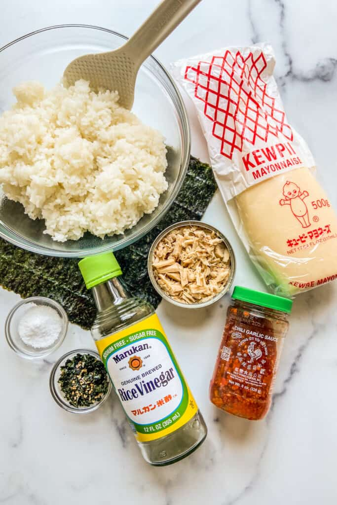 Spicy tuna onigiri ingredients.