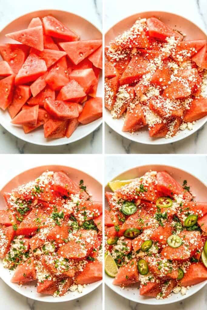 Four photos of making a watermelon salad with tajin and cotija.