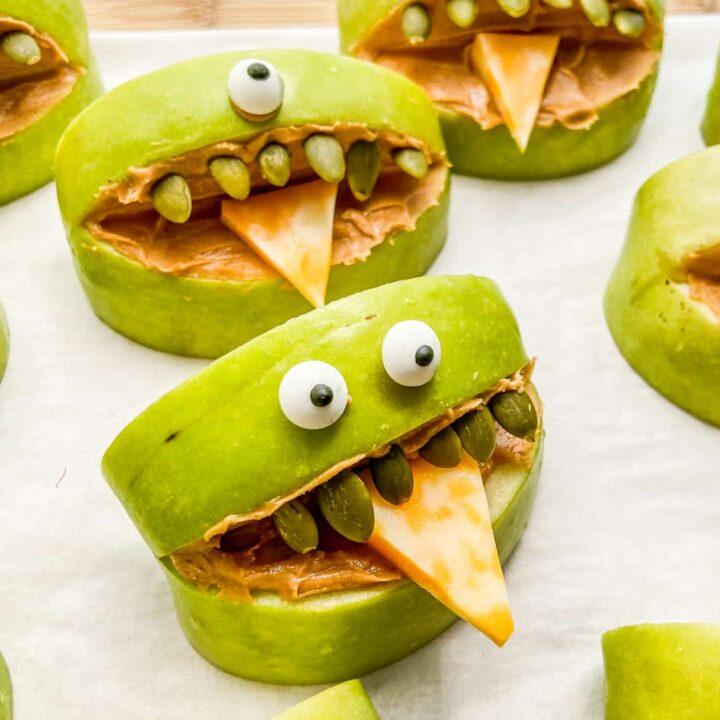 A closeup shot of apple monsters.