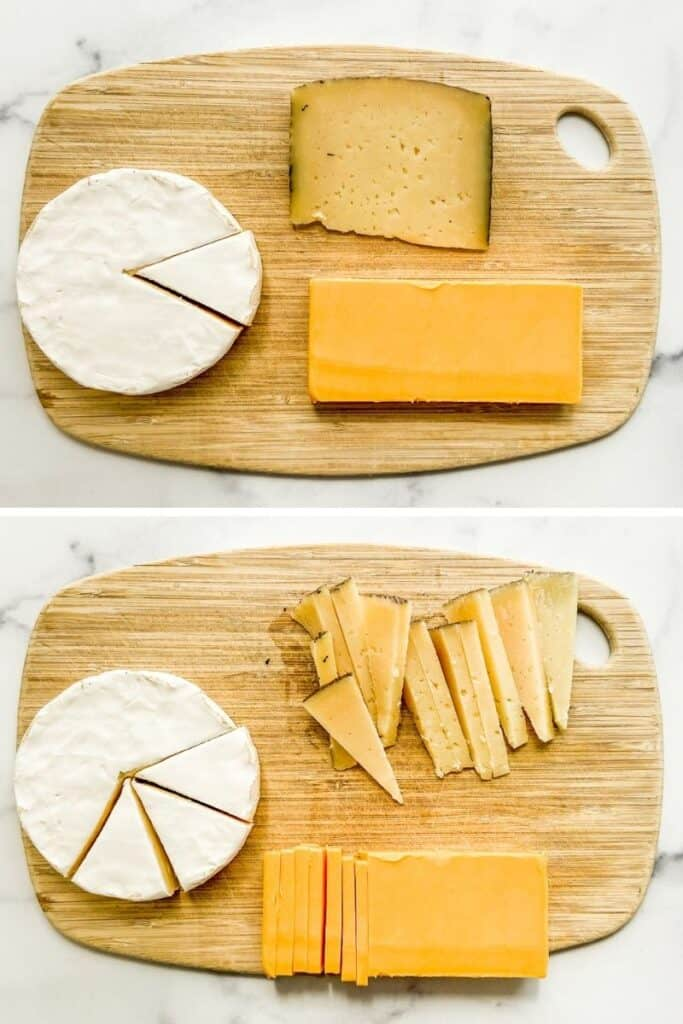 Two photos of cheese being cut on a small wooden cutting board.