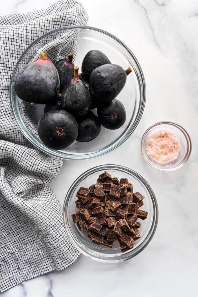 Figs, dark chocolate chunks, and Himalayan sea salt.
