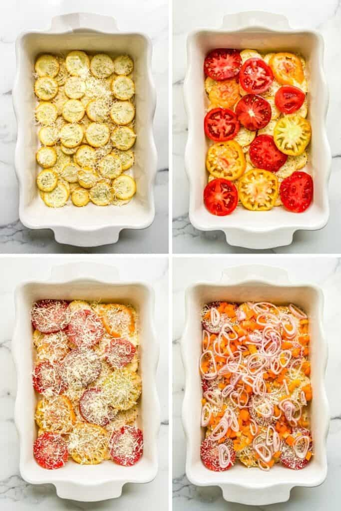 Four photos showing how to layer the gratin.