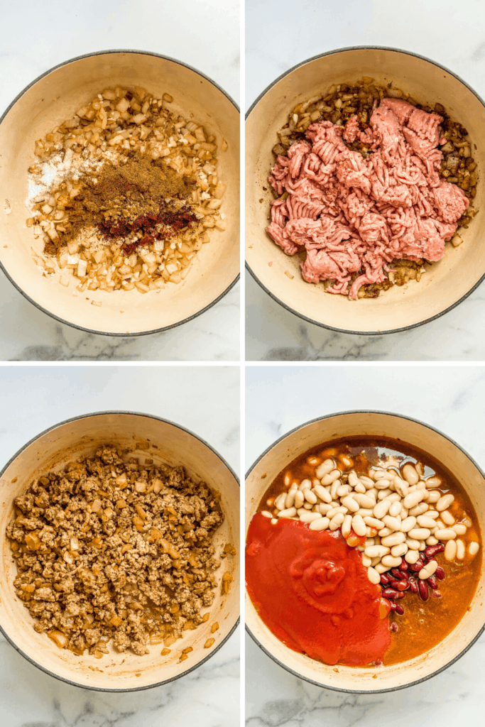 Four process photos showing the stages of making ground turkey chili.