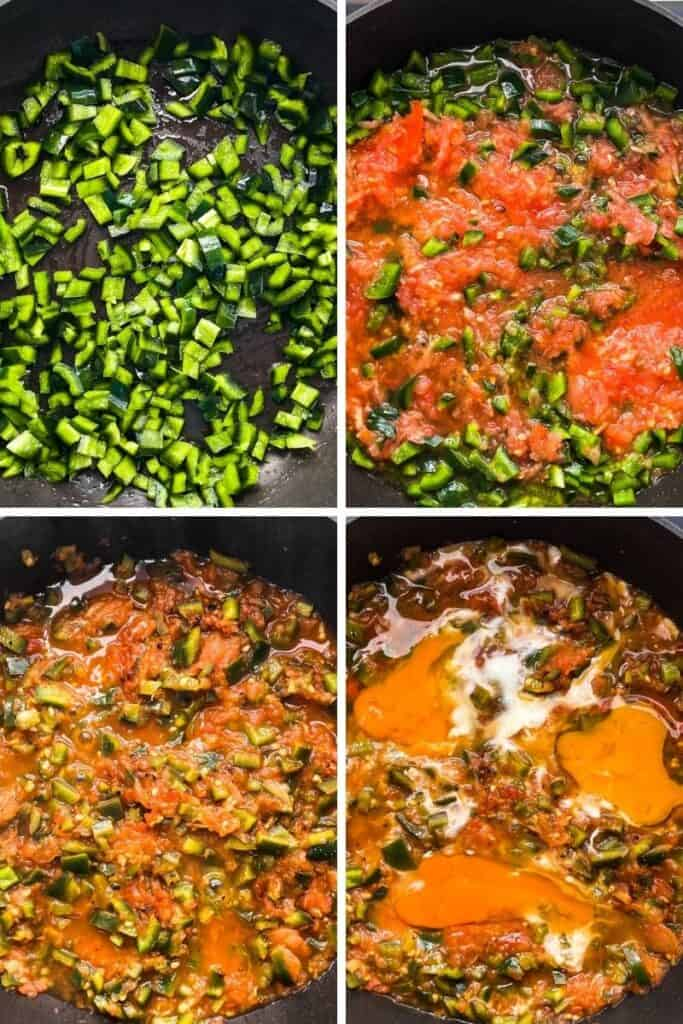 Four photos showing the stages of making menemen.