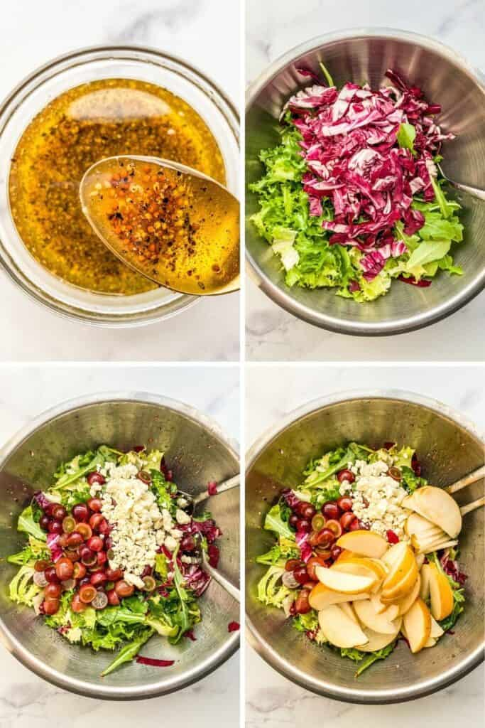 Four process shots showing making the dressing and putting the salad together.