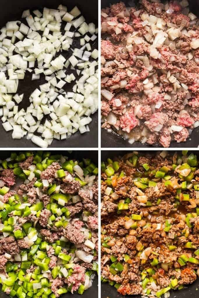 Four photos showing the process of making the meat and pepper filling for the eggplants.