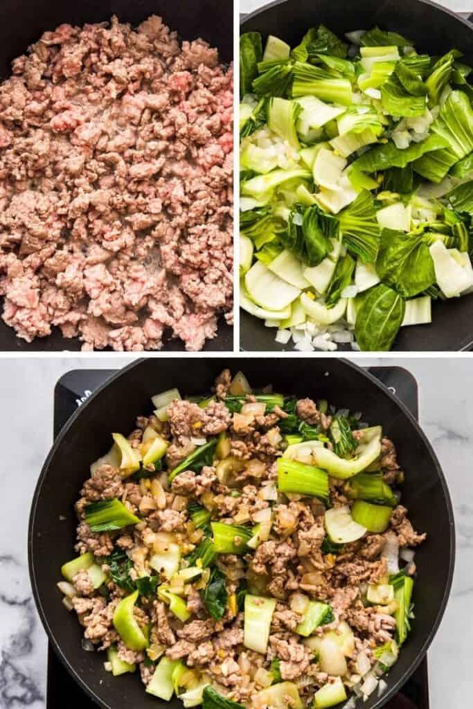 Three photos showing how to make pork stir fry.